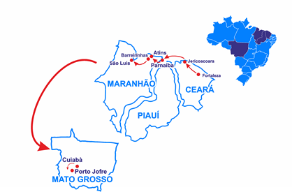 Mapa From Fortaleza to São Luís 4wd and the Pantanal of the Jaguar