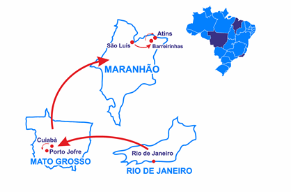 Mapa Rio, Pantanal of the Jaguar and Lençois Maranhenses