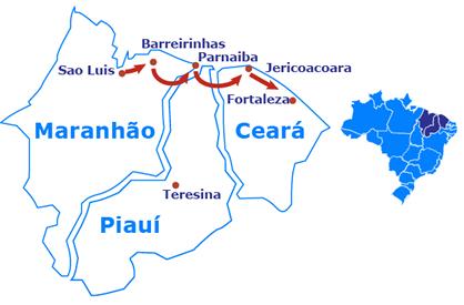 Mapa De Sao Luis a Fortaleza en 4x4