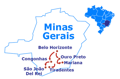 Mapa Historic towns of Minas Gerais