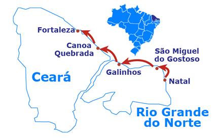 Mapa Natal to Fortaleza de 4X4