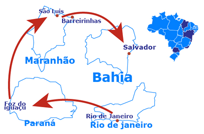 Mapa The marvels of Brazil